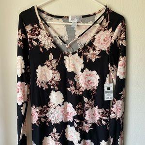 Knee length flower dress, super soft.  Size L.